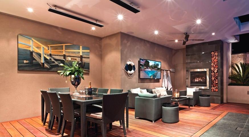Потолочный ИК обогреватель кафе